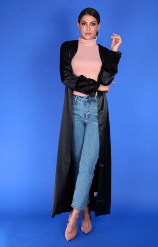 SATIN FUR SLEEVE DUSTER