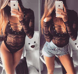 LONG SLEEVE LACE UP BODYSUIT - BLACK