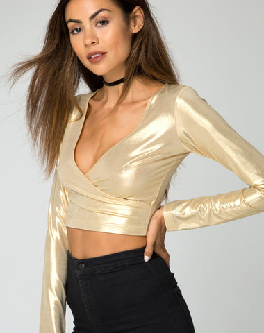 BALLERINA WRAP TOP  IN GOLD RUSH - SHOP MĒKO