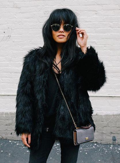 PORTOFINO FAUX FUR - BLACK