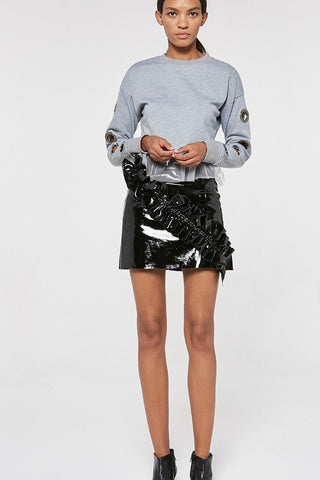 PATENT RUFFLE MINI SKIRT