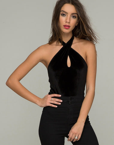 CROSS VELVET BODYSUIT