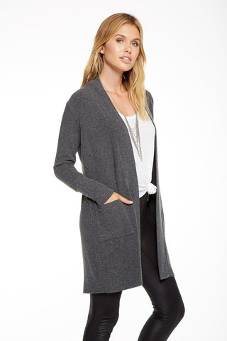 BLACK LOVE KNIT LONG CARDIGAN - SHOP MĒKO