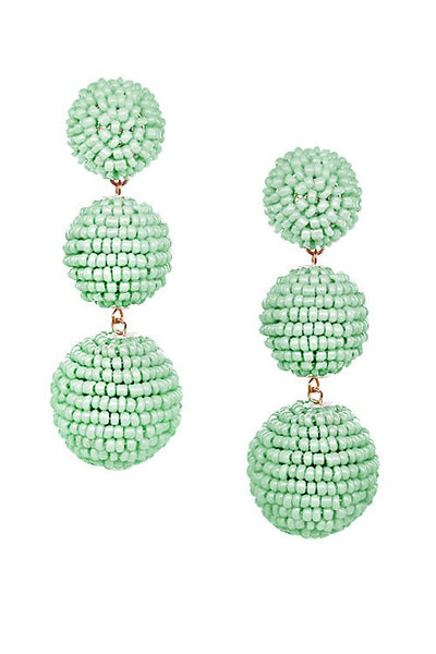 LONG PALM BALL EARRINGS
