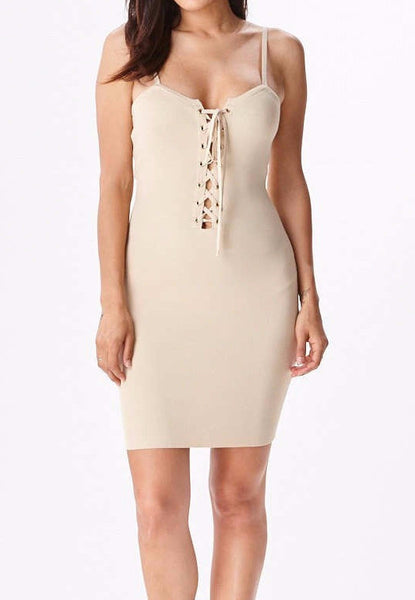 LACE UP TANK DRESS - TAUPE - SHOP MĒKO