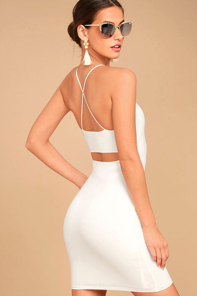 RIBBED BACK CUTOUT TANK DRESS