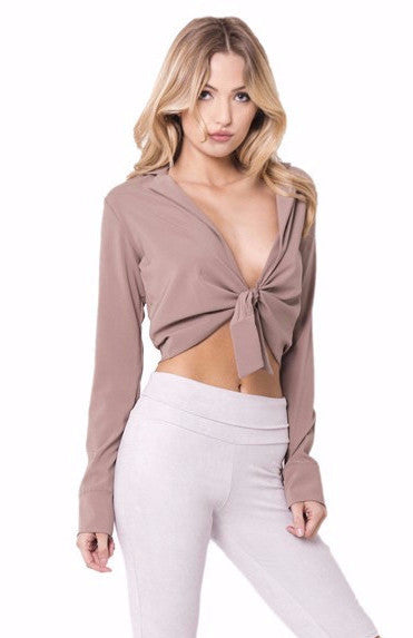 CROPPED TIE FRONT TOP - SHOP MĒKO