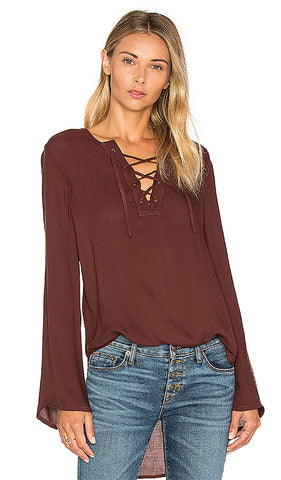 BELL SLEEVE LACE UP TOP - SHOP MĒKO