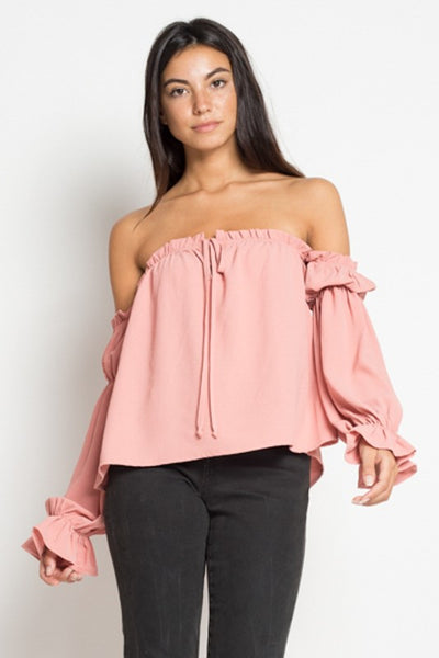 ROMANTIC RUFFLE TOP - MAUVE