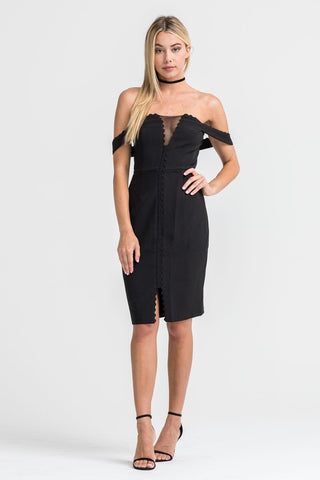 OFF SHOULDER MESH DETAIL DRESS