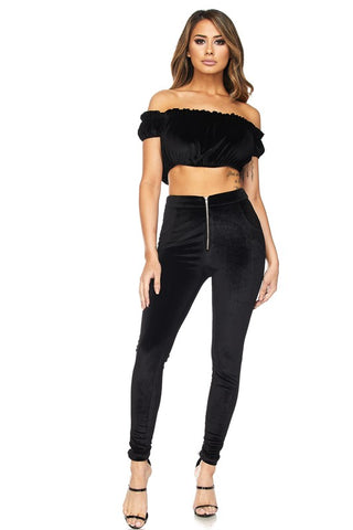 VELVET RUFFLE CROP TOP & LEGGING SET