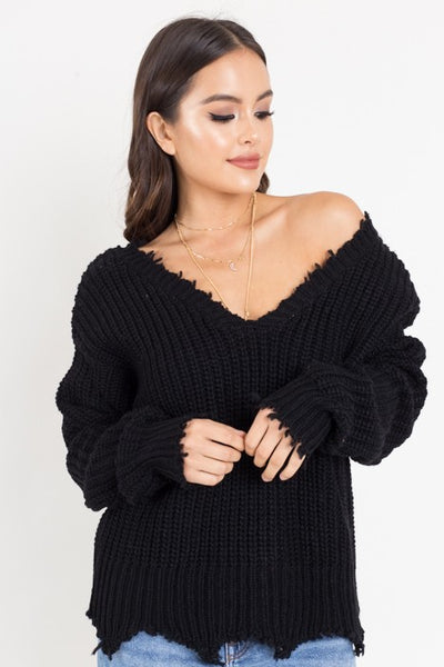 DISTRESSED DEEP V SWEATER