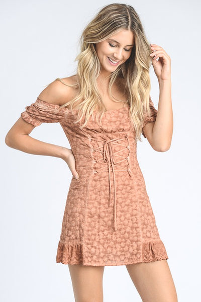 OFF SHOULDER EYELET LACE MINI DRESS