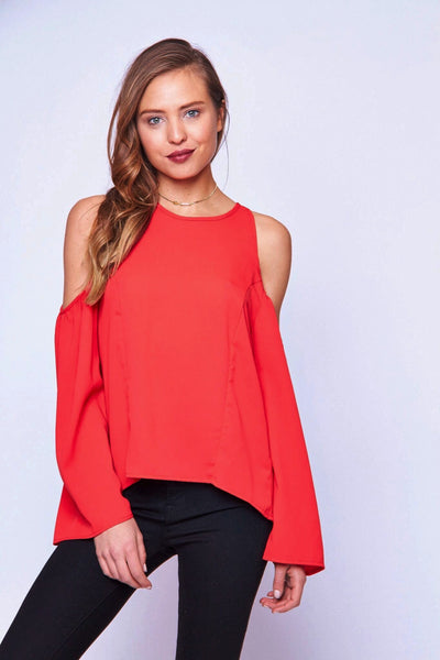 COLD SHOULDER FLARE SLEEVE TOP - SHOP MĒKO