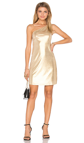 ONE SHOULDER GOLD METALLIC SLIP DRESS
