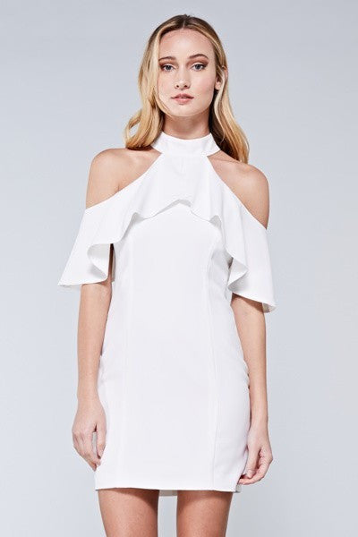 FRILL HALTER DRESS - SHOP MĒKO