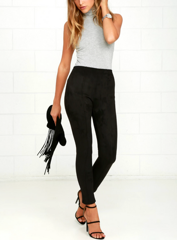 HIGH WAISTED FAUX SUEDE PANT