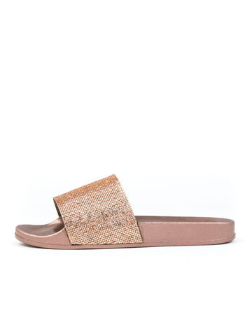 RHINESTONE EMBELLISHED SLIDES - ROSE GOLD