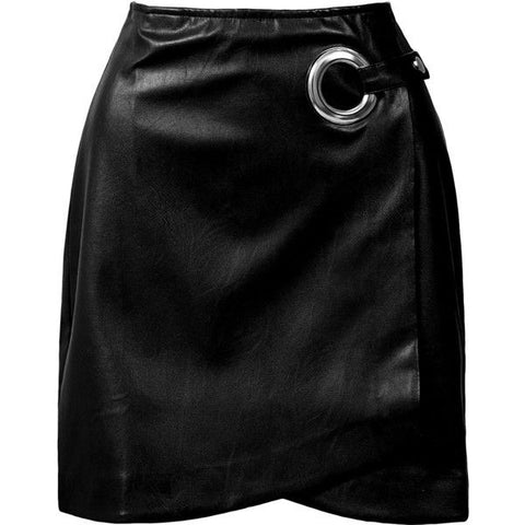 GROMMET DETAIL WRAP MINI SKIRT