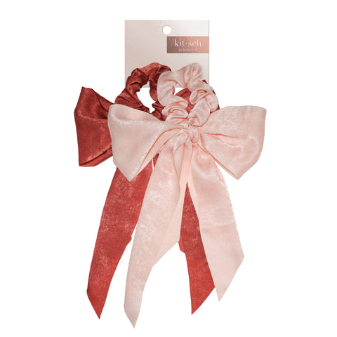 SATIN BOW SCARF SCRUNCHIES