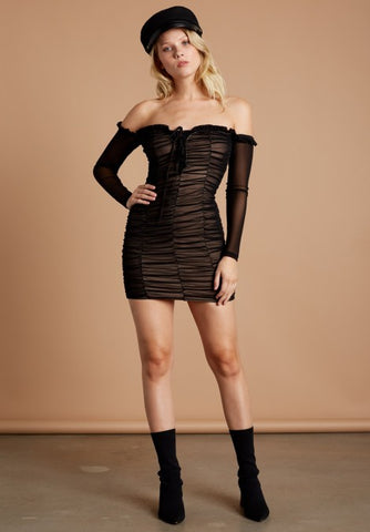 RUCHED LACE UP MINI DRESS