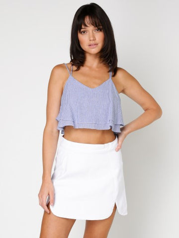 THIN STRIPE CAMI CROP TOP