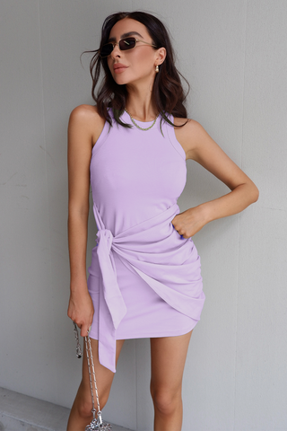 TAU TIE MINI DRESS - LILAC