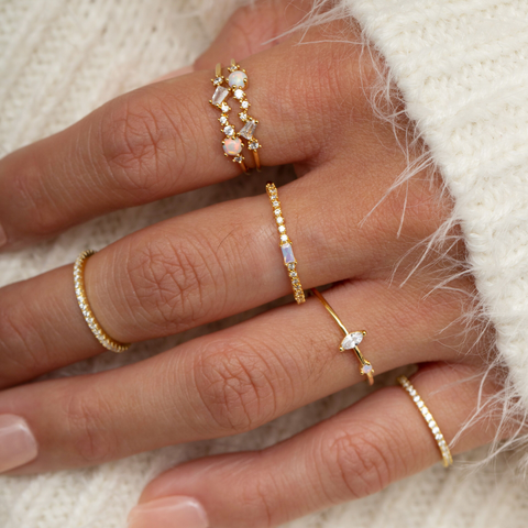 CLEAR STACK RING - GOLD