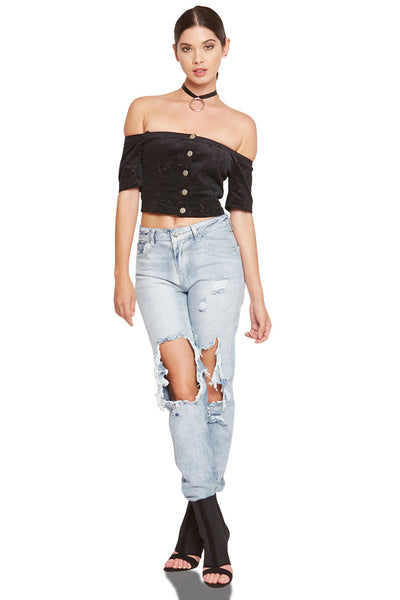 CROP TOP BUTTON DOWN - SHOP MĒKO