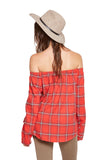 OFF SHOULDER PLAID TOP - SHOP MĒKO