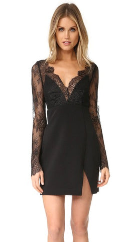 Black Lace Mini Dress Allende Stylestalker