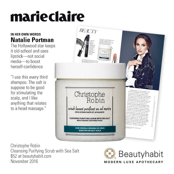 "Marie Claire IN HER OWN WORDS Natalie Portman The Hollywood star keeps it old-school and uses lipstick—not social media—to boost herself-confidence. ""I use this every third shampoo. The salt is suppose to be good for stimulating the scalp, and I like anything that rel"