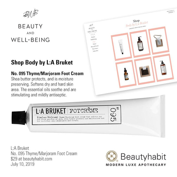 L:A Bruket, No. 095 Thyme/Marjoram Foot Cream, Beautyhabit