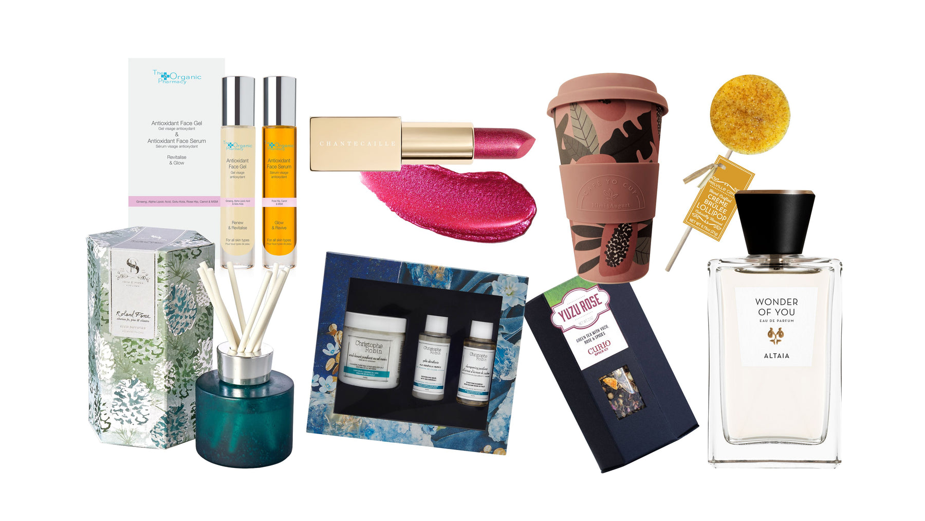 Gifts and Gift Sets from The Organic Pharmacy, Chantecaille, Mimi & August, Hand-Crafted Lollipops, The Soap & Paper Factory, Christophe Robin, Curio Spice Co. ALTAIA and more - SHOP NOW