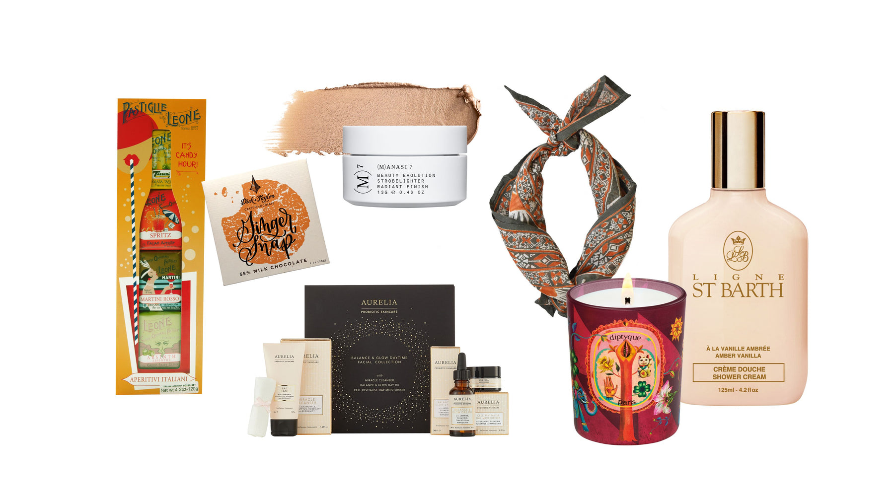 Gifts and Gift Sets from Leone, Dick Taylor Craft Chocolate, (M)anasi 7, From Mila, Ligne St. Barth, Aurelia Skincare and Diptyque Paris