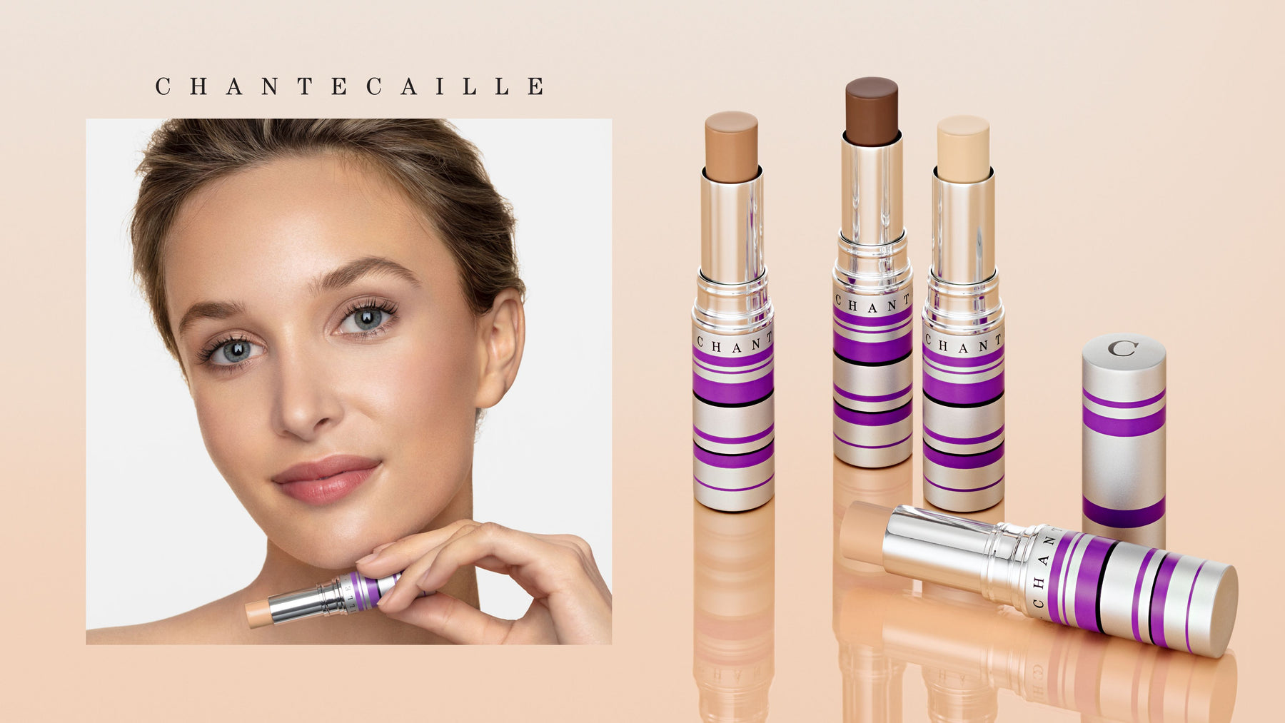 A selection Chantecaille Real Skin + Eye and Face Stick colors and close up of models face and holding product