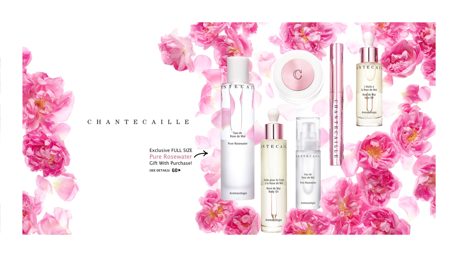 A selection of Rose de Mai Skincare by Chantecaille