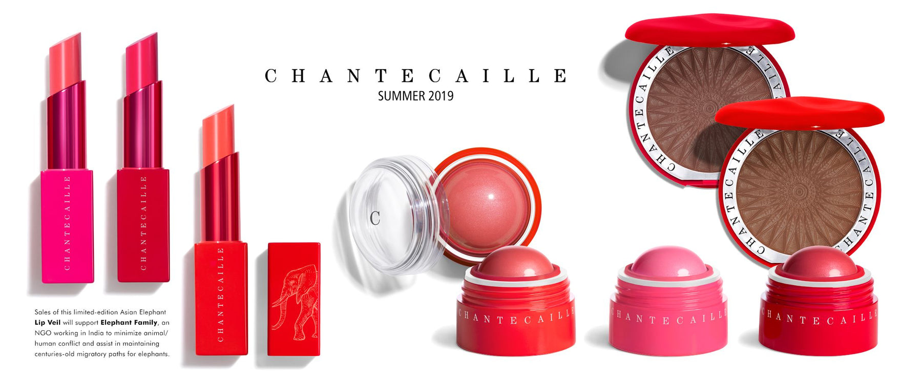 Chantecaille Summer 2019 makeup collection. Sales of the limited-edition Asian Elephant Lip Veil will support Elephant Family, an NGO working in India to minimize animal/human conflict and assist in maintaining centuries-old migratory paths for elephants.