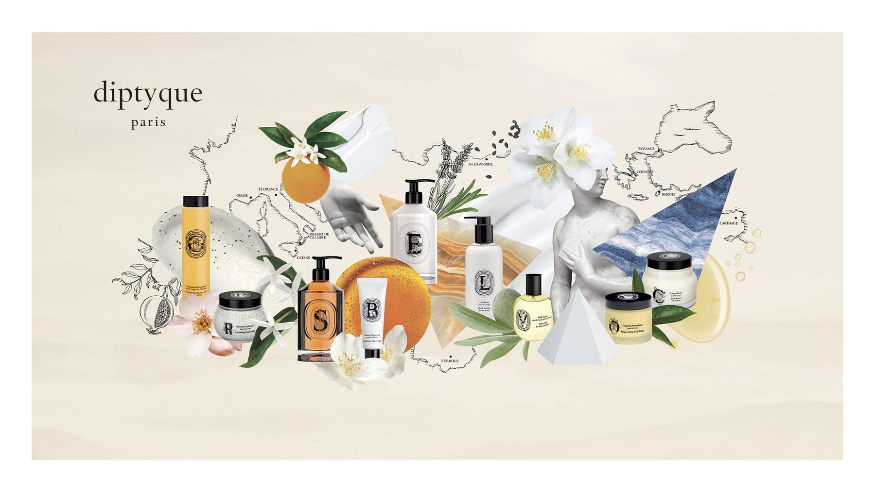A selection of Diptyque Paris body care products.