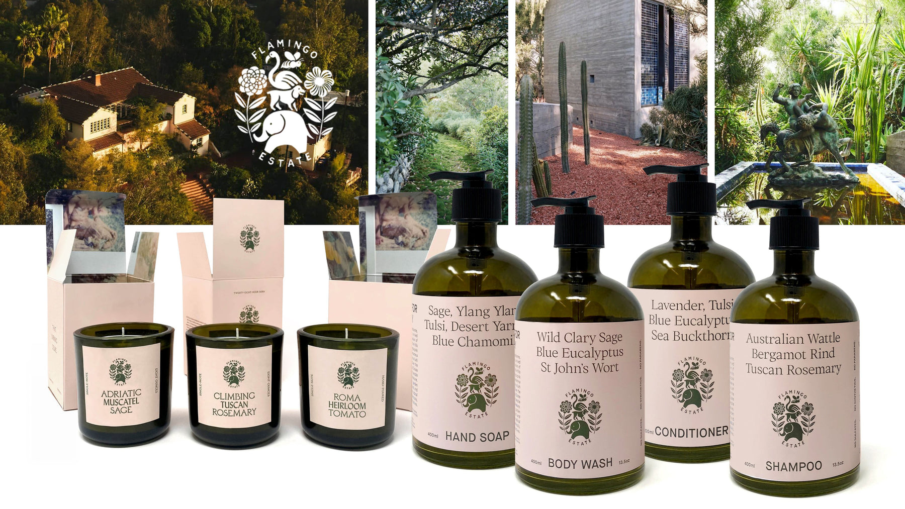 Flamingo Estate Organics Candles, Body Care and Hair Care