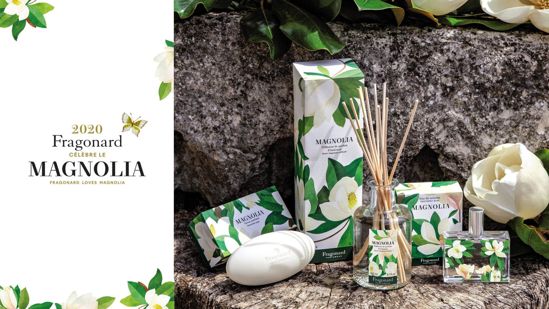 Fragonard Parfumeur Magnolia Collection Includes Eau de Toilette, Diffuser, Pebble Soap and Set of 4 Guest Soaps