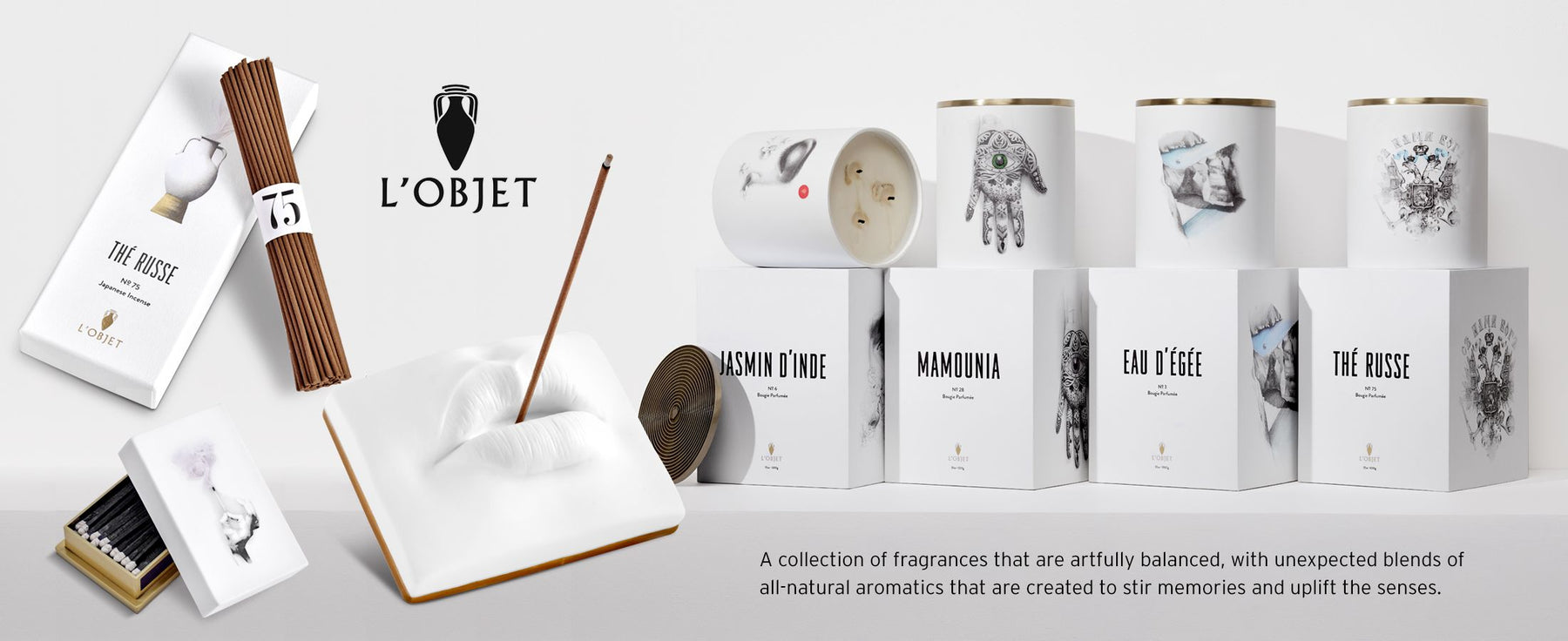 L'Objet - A collection of fragrances that are artfully balanced, with unexpected blends of  all-natural aromatics that are created to stir memories and uplift the senses. A selection of incense, incense holder, matches and candles shown.