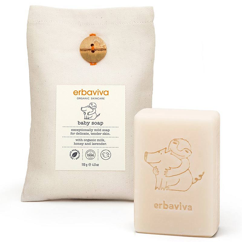 Erbaviva Baby Soap (4 oz) with canvas pouch