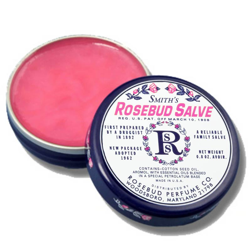 Rosebud Perfume Co. Smith's Rosebud Salve - tin opened