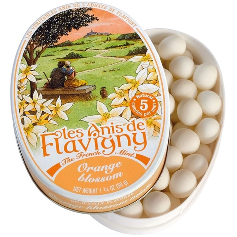 Les Anis de Flavigny Orange Blossom Flavored Hard Candy (1.75 oz / 50 g) Lid Off to Side