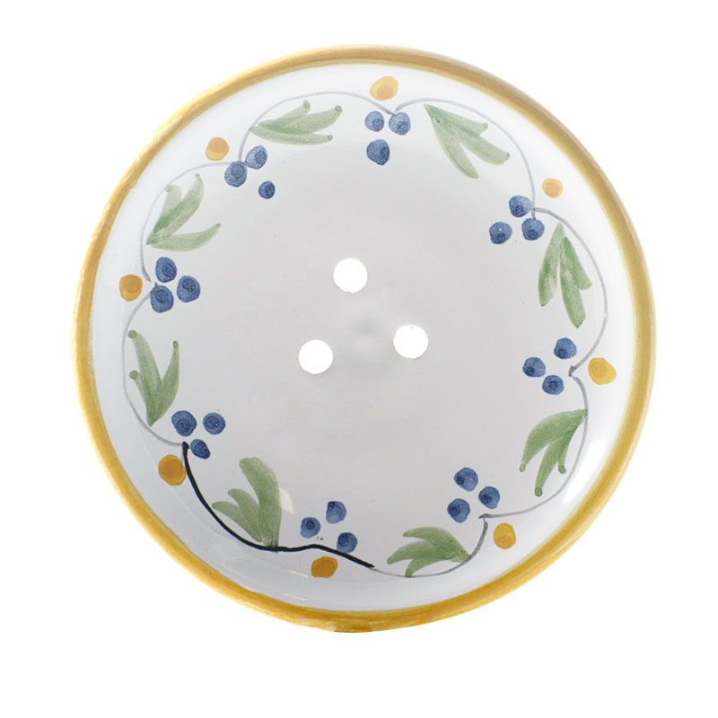 La Lavande Handmade and Handpainted French Round Soap Dish (Yellow Flower, 1 pc)