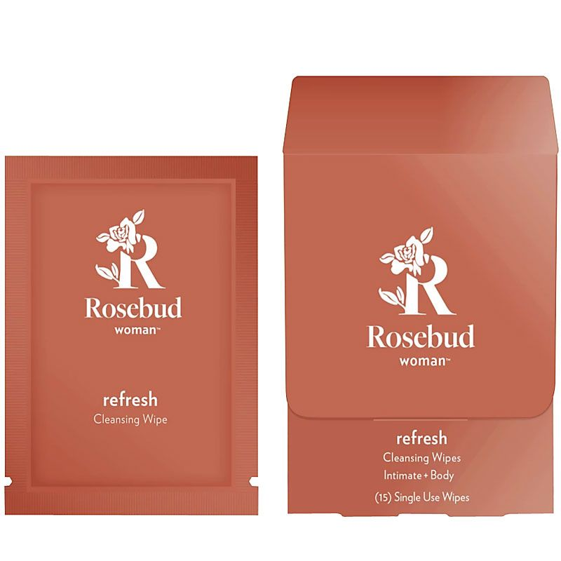 Rosebud Woman Refresh Intimate and Body Cleaning Wipes - box and single wipe packet