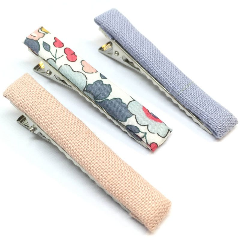 The Tiny Bow Shop Blue Linen, Blue Floral, Salmon Linen Hair Clip Set (3 pcs)