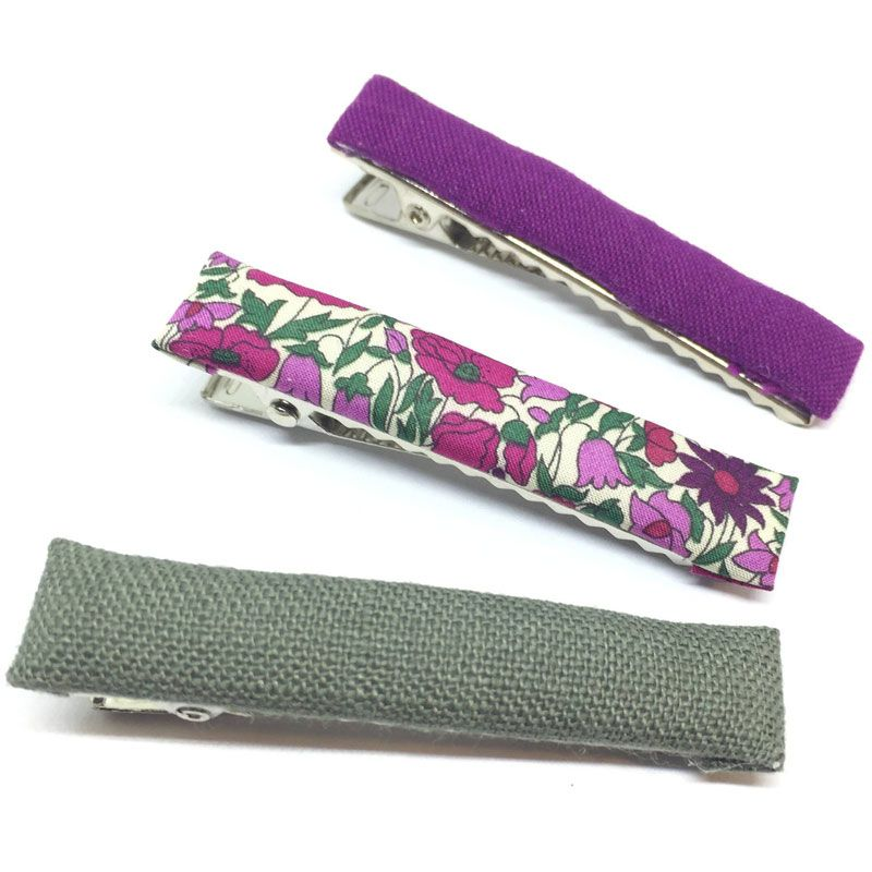 The Tiny Bow Shop Iris, Purple Floral, Olive Linen Fabric Hair Clip Set (3 pcs)