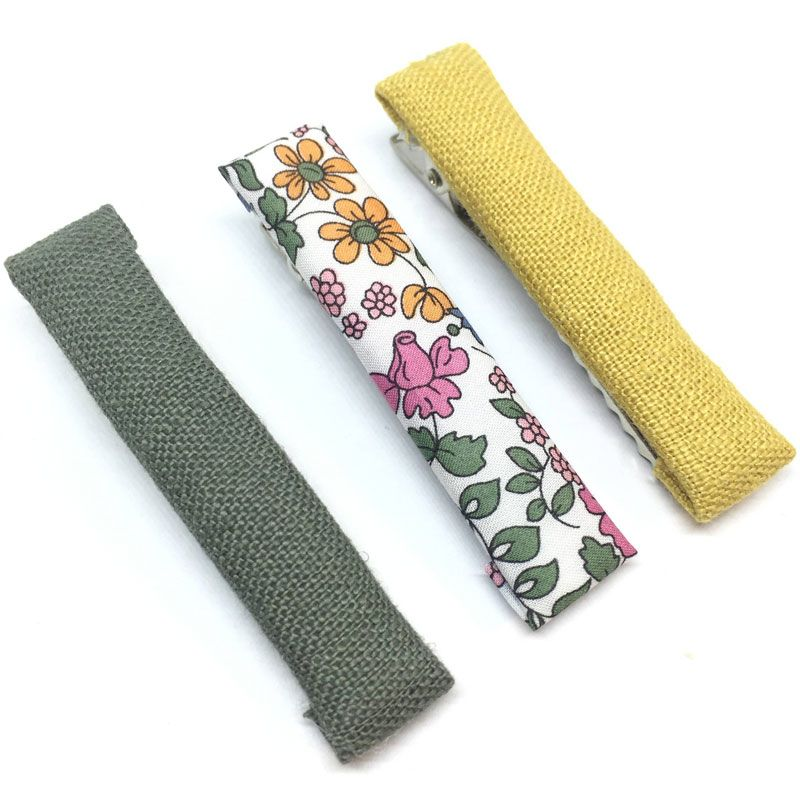 The Tiny Bow Shop Olive, Fall Floral and Golden Fabric Hair Clip Set (3 pcs)